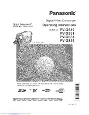 Panasonic Digital Paimcorder MultiCam PV-GS31 Manuals