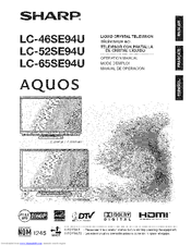 Sharp Aquos LC-52SE94U Manuals