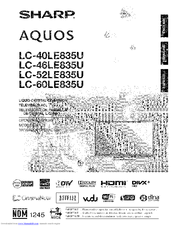 Sharp AQUOS LC-52LE835U Manuals