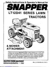 Snapper LT12D41 Series Manuals
