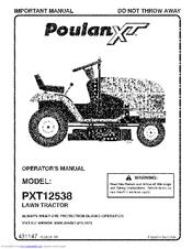 Poulan Pro XT PXT12538 Manuals