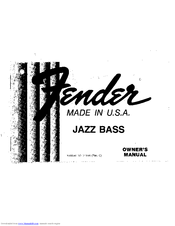 Fender JAZZ BASS Manuals