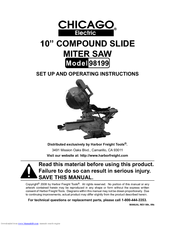 Chicago Electric 98199 Set Up And Operating Instructions Manual 23 Pages 10 Compound Slide Miter Saw
