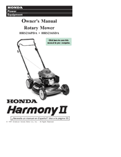 Honda Harmony II HRS216SDA Manuals