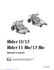 Husqvarna Rider 11, Rider 13 H,Rider 11 Bio Manuals