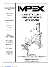 Impex Marcy Classic MCB 880-MG Manuals