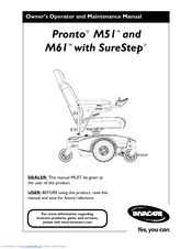Invacare Wheelchair Pronto M61 Manuals