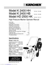 Karcher HD 2500 HK Manuals