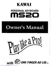 Kawai Personal Keyboard MS20 Manuals
