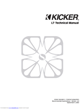 Kicker Solo-Baric S8L7 Manuals