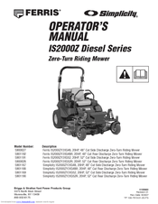 Ferris IS2000Z Diesel Manuals