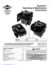 Briggs & Stratton 120000 Quantum 675 Series Manuals