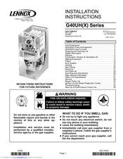 Lennox G40UH Series Manuals
