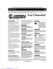 Campbell Hausfeld 3-in-1 PowerPal Manuals
