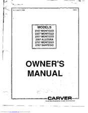 Carver 2557 MONTEGO Manuals