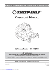 Troy-bilt RZT MUSTANG ZT50 Manuals