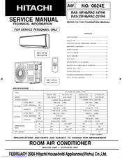 Hitachi RAS-25FH6 Manuals