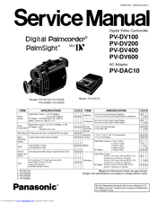 Panasonic Digital Palmcoder PalmSight PV-DV100 Manuals