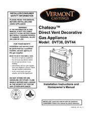 Vermont Castings Chateau DVT38 Manuals
