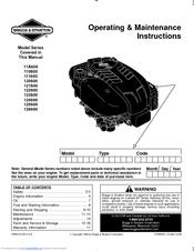 Briggs & Stratton 111600 series Manuals