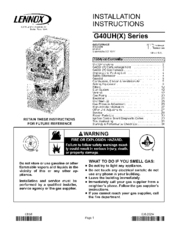 Lennox G40UH Series Manuals