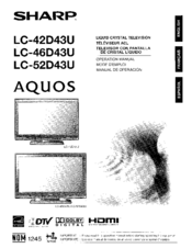 Sharp AQUOS LC-46D43U Manuals