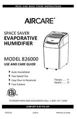 Aircare 826000 Manuals
