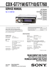 Sony CDX GT71W Fm Am Compact Disc Player Manuals