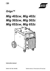 Esab Origo Mig 502cw Manuals