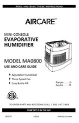 Aircare MA0800 Manuals