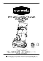 Greenworks 40V 20'' Cordless Snow Thrower 2600200 Manuals