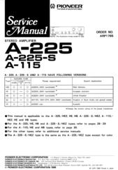 Pioneer A-115 Manuals