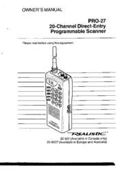 Realistic PRO-27 Manuals