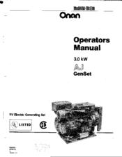 Onan 3.0 kW AJ GEN SET Manuals