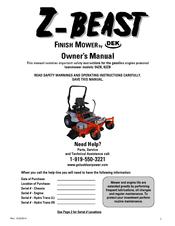 Z-beast 62ZB Manuals