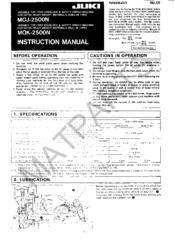 Juki MOJ 2500N series Manuals