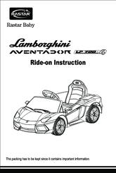 Rastar Baby Lamborghini aventador LP700-4 Manuals