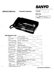 Sanyo SFX-30 Manuals