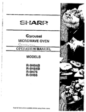 Sharp Carousel R-9H84B Manuals