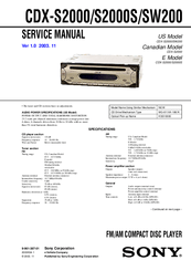 Sony CDX SW200 Fm Am Compact Disc Player Manuals