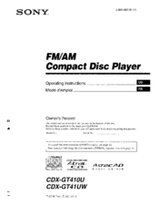 sony cdx gt410u wiring diagram for motorcycle hazard lights fm am compact disk player manuals operating instructions manual