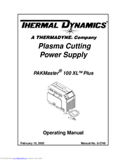 Thermal Dynamics PAKMaster 100 XL Plus Manuals