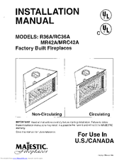 Majestic Fireplaces MRC42A Manuals