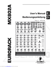 Behringer EURORACK MX802A Manuals