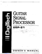 Digitech GSP 21 Legend Manuals