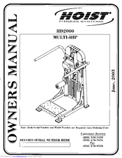 Hoist Fitness HD2000 Multi-Hip Manuals