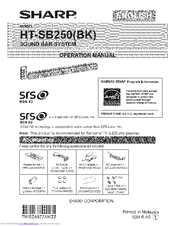 Sharp HT-SB250 Manuals