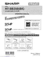 Sharp HT-SB250 Manuals