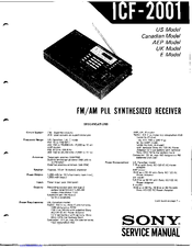Sony ICF-2001 Manuals