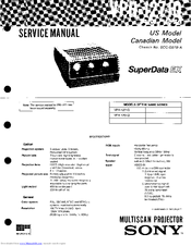 Sony SuperData VPH-1271Q Manuals